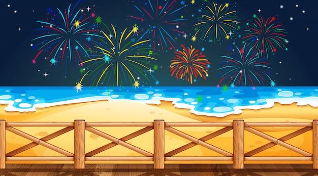Feuerwerk am himmel vom strandblick