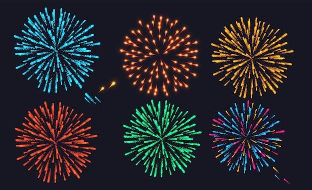 Feuerwerk funkelnde piktogramme vor schwarzem hintergrund abstrakte isolierte illustration eingestellt