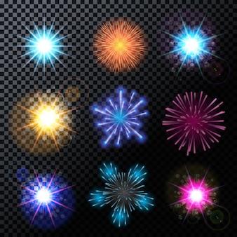Feuerwerk, gruß set auf einem transparenten hintergrund Premium Vektoren