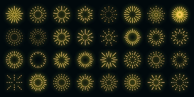 Feuerwerk icons set vektor neon