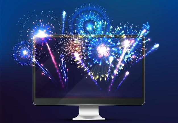 Feuerwerk im internet. licht auf dem bildschirm, realistischer monitor mit festlichem neujahrsgruß. ausstrahlung der vektorillustration des stadtfestes. online-ferienfeuerwerk, webscreen-weihnachten, traditionsfeier