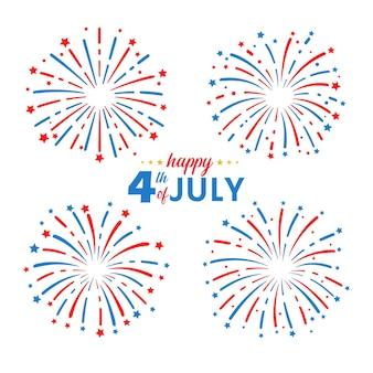 Feuerwerk mit amerikanischer flagge