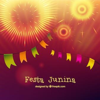 Feuerwerk mit girlanden festa junina hintergrund