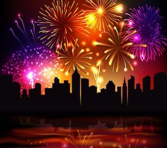 Feuerwerk Stadt Hintergrund