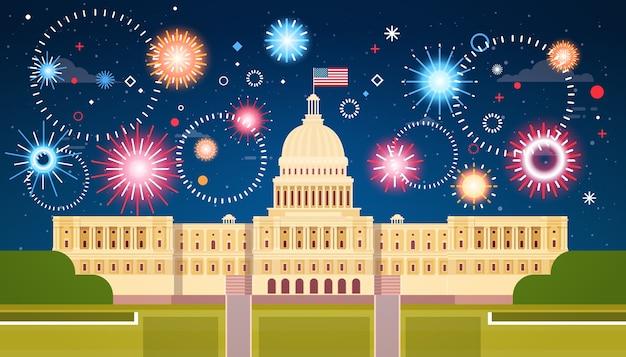 Feuerwerk über dem weißen haus