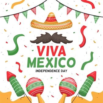 Feuerwerk und maracas internationaler tag von mexiko