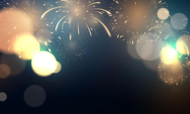 Feuerwerk und weihnachten unter dem motto celebration party 2022 frohes neues jahr hintergrunddesign.