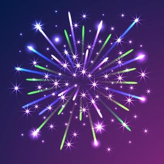 Feuerwerke auf blauem violettem hintergrund