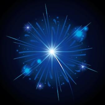 Feuerwerke, die in form des blauen sternes auf schwarzem hintergrund bersten