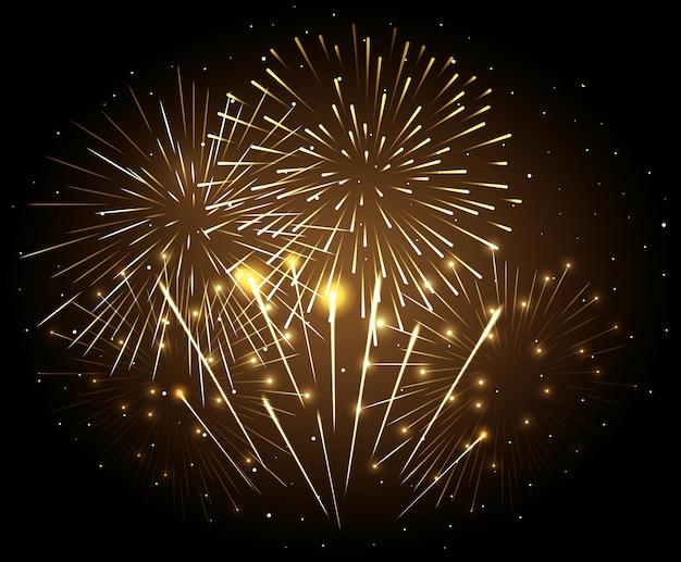 Feuerwerksexplosion auf nachtdunkelheitshimmel, feier des neuen jahres