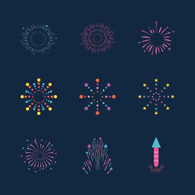 Feuerwerksexplosionssymbol über blauem hintergrund, flacher stil