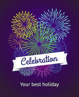 Feuerwerkshintergrund, feierkarte oder feierplakatschablone. bunte gruß- und textfahne. vektor-illustration