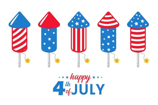 Feuerwerksrakete mit amerikanischer flagge damit der himmel die amerikanische unabhängigkeitserklärung feiert.