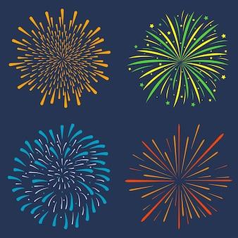 Feuerwerksset sammlung von festlichen explosionsjubiläumsgrüßen