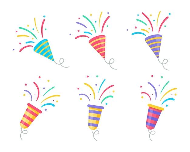 Feuerwerksvektor zeichnet eine party. konfetti schwebt vom feuerwerk der geburtstagsfeier