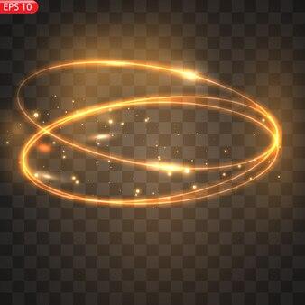 Feurige lichtkreise glühen effekt funkelnder goldener glitzer feurige kreise funkeln magische wirbelwinde und lichtenergie