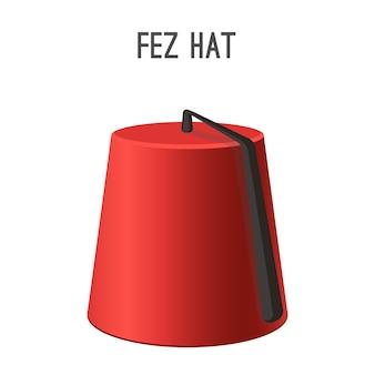 Fez hat nationale kopfbedeckungen von menschen, die in der türkei leben. flaches, konisches rotes objekt mit einer schwarzen quaste oben, getragen von männern in muslimischen ländern, isoliert auf