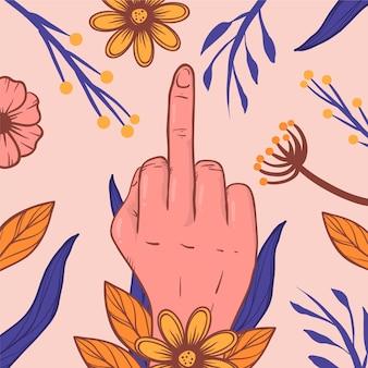 Fick dich symbol mit blumen