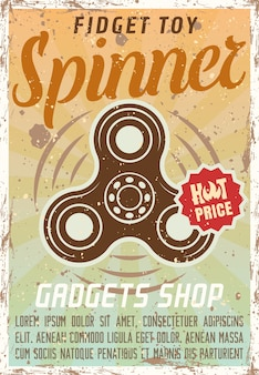 Fidget spinner werbung vintage farbiges poster für gadgets shop illustration