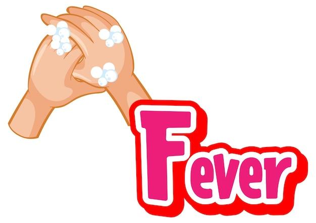 Fieberschriftdesign mit virus verbreitet sich durch händeschütteln auf weißem hintergrund