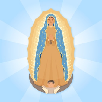 Fiesta de la virgen hand gezeichnet