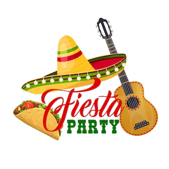 Fiesta party ikone mit traditionellen mexikanischen symbolen sombrero hut