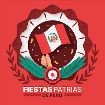 Fiestas patrias de peru illustration im papierstil