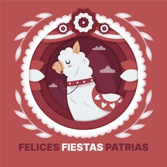 Fiestas patrias de peru illustration im papierstil Kostenlosen Vektoren