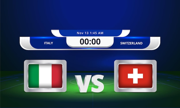 Fifa fussball-weltmeisterschaft 2022 italien vs schweiz fußballspiel anzeigetafel übertragen