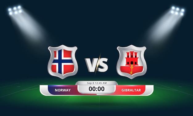Fifa wm-qualifikation 2022 norwegen vs gibraltar fußballspiel