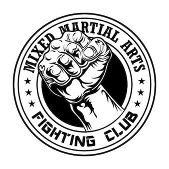 Fight club emblem mit der faust. logo des box- und kampfclubs mit muskulösem arm
