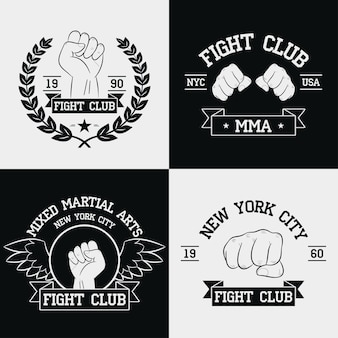 Fight club grafiken für t-shirt set new york city mma mixed martial arts