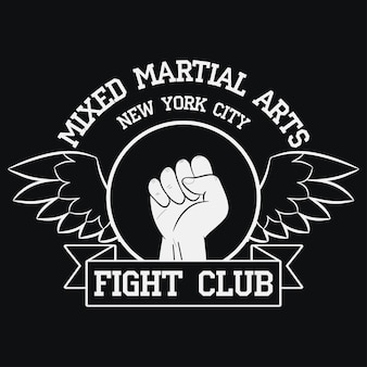 Fight club logo new york mma mixed martial arts kampftypografie für designkleidung