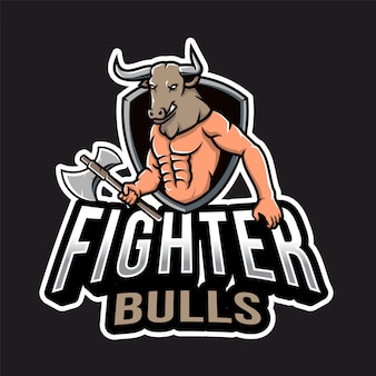 Fighter bull head esport-logo