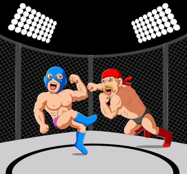 Fighter sparring gemischte kampfkünste