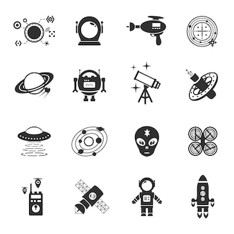 Fiktion icons schwarz set