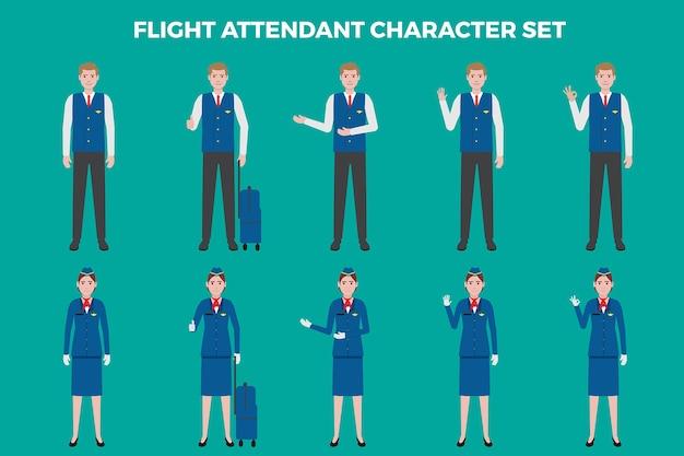 Filight attendant illustration set