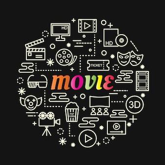 Film bunten farbverlauf mit linie icons set