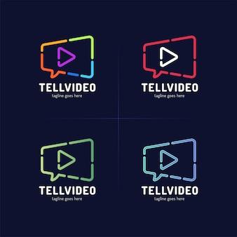 Film chat logo vorlage. videokamera und sprechblase
