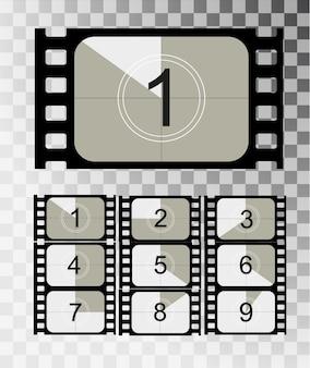 Film countdown, vintage stummfilm und leere vollbild-fotofilm realistisch fünfunddreißig millimeter proportionen, satz von symbolen