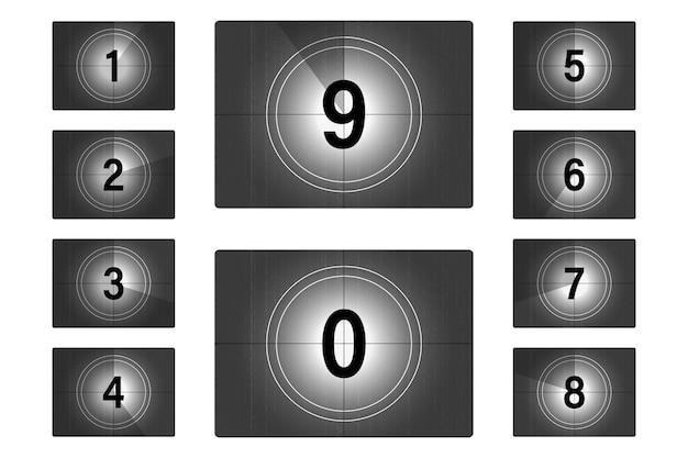 Film-countdown-zahlen eingestellt. der beginn des alten films. timer-zählung für retro-kinofilme. alter film des countdown-rahmens. vintage stummfilmleinwand mit kreisabschnitt-timer auf grunge-filmhintergrund