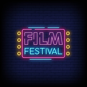 Film festival neon signs style text