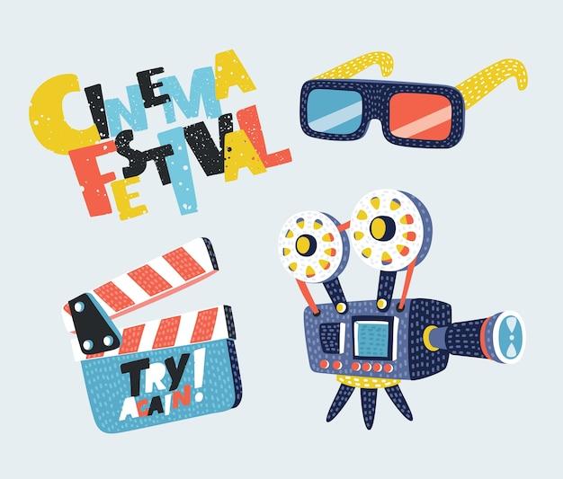 Film icons set megaphon, rolle, kamera, ticket, clapperboard und fast food.