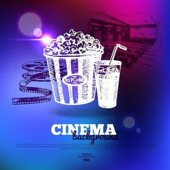 Film-kino-poster. hintergrund mit handgezeichneten skizzenillustrationen und lichteffekten