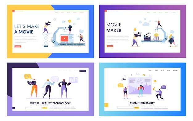 Film making set konzept landing page. personencharakter mit kameraaufnahme bearbeiten von filmen im studio. virtual reality technology website oder webseite flat cartoon vector illustration