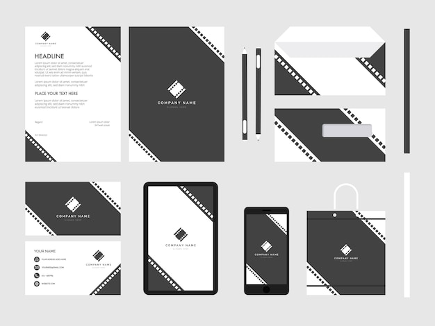 Film moderne flache business corporate identity briefpapier