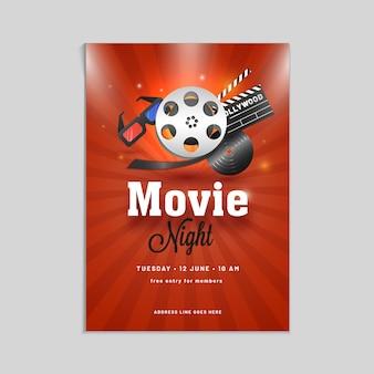 Film nacht poster, banner oder flyer design mit showreel, 3d-brille und schindel ..
