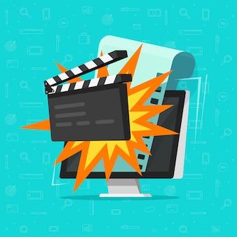 Film oder on-line-kino auf flacher karikatur des computerkonzeptes
