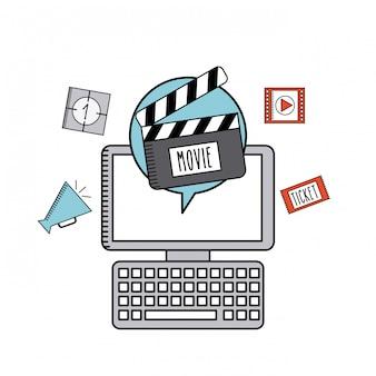 Film online flache linie symbole