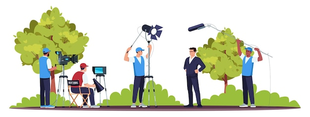 Film set semi-rgb-farbe. drehvorgang. gutes teamwork. regisseur mit seinen teammitgliedern. professionelle ausrüstung. hauptdarsteller